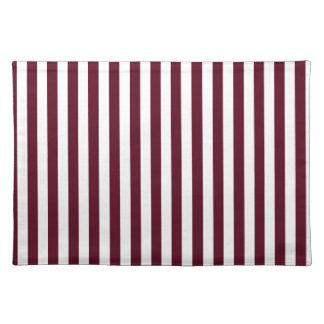 Thin Stripes - White and Dark Scarlet Placemats
