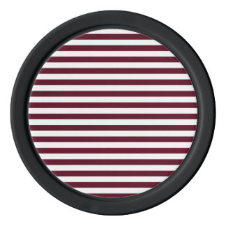 Thin Stripes - White and Dark Scarlet Poker Chip Set