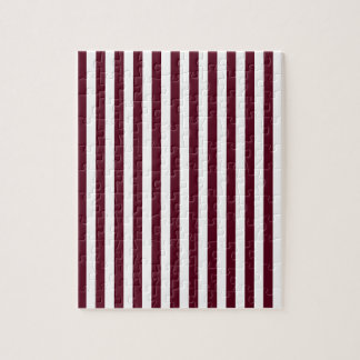 Thin Stripes - White and Dark Scarlet Puzzle