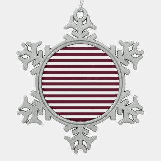Thin Stripes - White and Dark Scarlet Snowflake Pewter Christmas Ornament