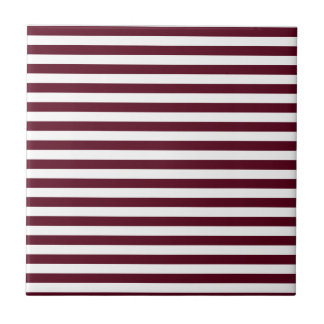 Thin Stripes - White and Dark Scarlet Tile