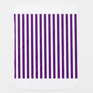 Thin Stripes - White and Dark Violet Baby Blanket