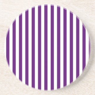 Thin Stripes - White and Dark Violet Coasters