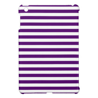 Thin Stripes - White and Dark Violet iPad Mini Cases