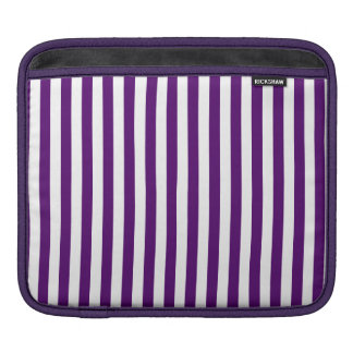 Thin Stripes - White and Dark Violet iPad Sleeve