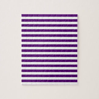 Thin Stripes - White and Dark Violet Jigsaw Puzzle