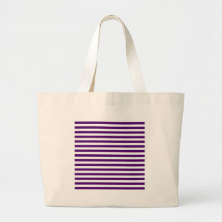 Thin Stripes - White and Dark Violet Large Tote Bag