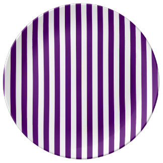 Thin Stripes - White and Dark Violet Plate