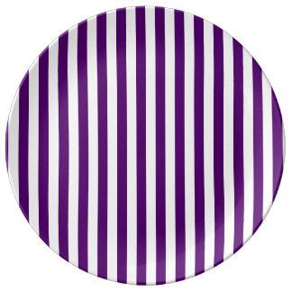 Thin Stripes - White and Dark Violet Porcelain Plates