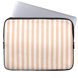 Thin Stripes - White and Deep Peach Laptop Sleeve