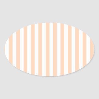 Thin Stripes - White and Deep Peach Oval Sticker