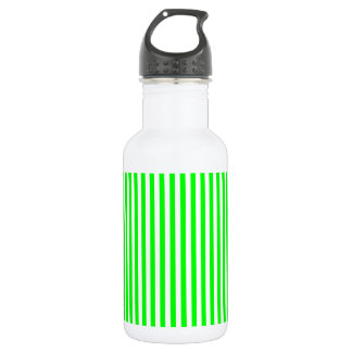 Thin Stripes - White and Electric Green 532 Ml Water Bottle