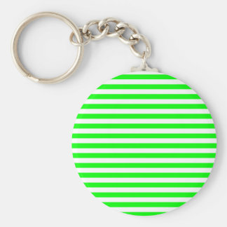 Thin Stripes - White and Electric Green Basic Round Button Keychain
