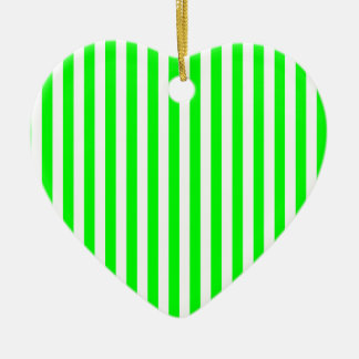 Thin Stripes - White and Electric Green Ceramic Heart Ornament
