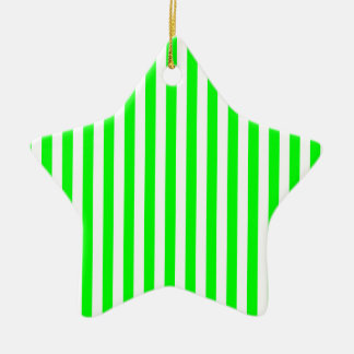 Thin Stripes - White and Electric Green Ceramic Star Ornament