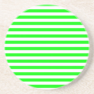 Thin Stripes - White and Electric Green Coaster