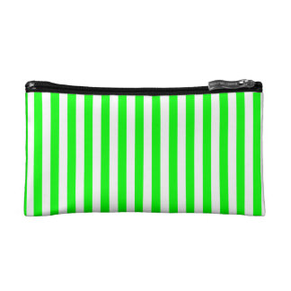 Thin Stripes - White and Electric Green Cosmetic Bag