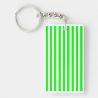 Thin Stripes - White and Electric Green Double-Sided Rectangular Acrylic Keychain