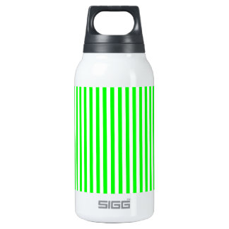 Thin Stripes - White and Electric Green Insulated Water Bottle