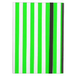 Thin Stripes - White and Electric Green iPad Air Covers