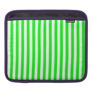 Thin Stripes - White and Electric Green iPad Sleeve