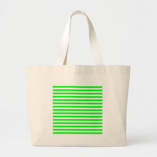 Thin Stripes - White and Electric Green Large Tote Bag