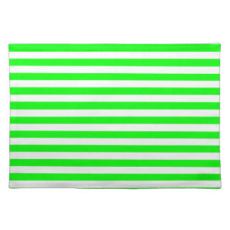 Thin Stripes - White and Electric Green Placemat
