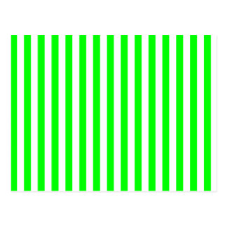 Thin Stripes - White and Electric Green Postcard