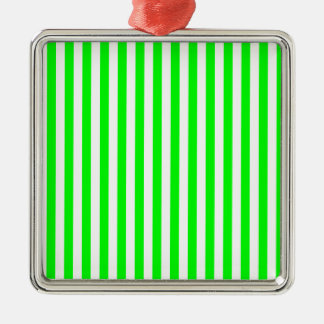 Thin Stripes - White and Electric Green Silver-Colored Square Ornament