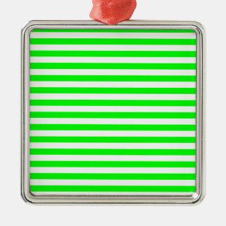 Thin Stripes - White and Electric Green Silver-Colored Square Ornament