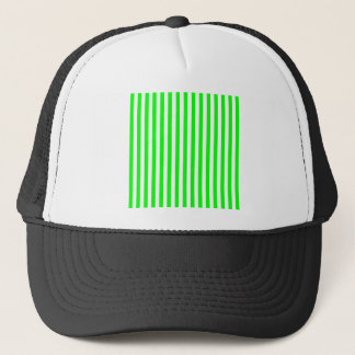 Thin Stripes - White and Electric Green Trucker Hat