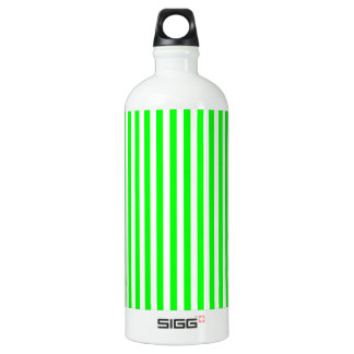 Thin Stripes - White and Electric Green Water Bottle