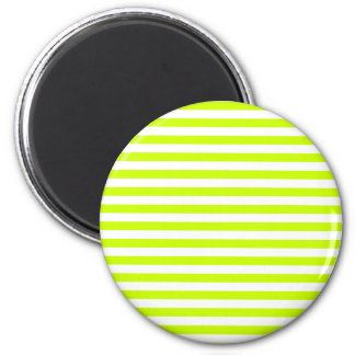 Thin Stripes - White and Fluorescent Yellow 2 Inch Round Magnet