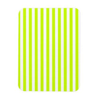 Thin Stripes - White and Fluorescent Yellow Rectangular Photo Magnet