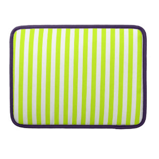 Thin Stripes - White and Fluorescent Yellow Sleeve For MacBook Pro