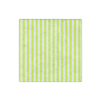 Thin Stripes - White and Fluorescent Yellow Stone Magnets