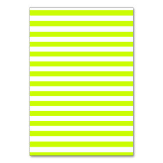 Thin Stripes - White and Fluorescent Yellow Table Cards