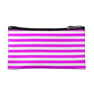 Thin Stripes - White and Fuchsia Makeup Bags