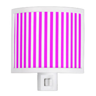 Thin Stripes - White and Fuchsia Nite Light