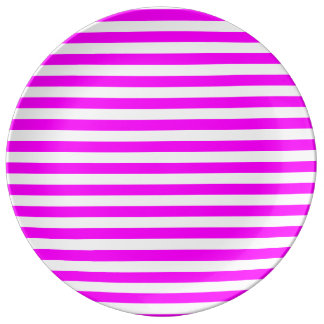 Thin Stripes - White and Fuchsia Plate