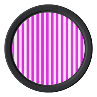 Thin Stripes - White and Fuchsia Poker Chips Set