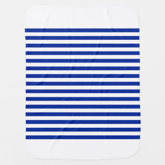 Thin Stripes - White and Imperial Blue Receiving Blankets