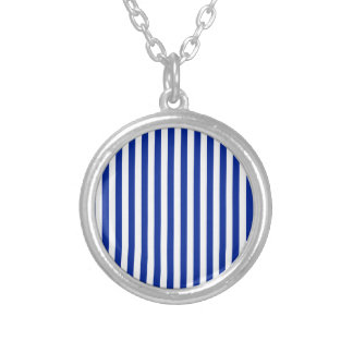 Thin Stripes - White and Imperial Blue Silver Plated Necklace