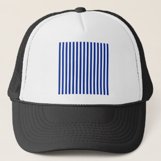 Thin Stripes - White and Imperial Blue Trucker Hat