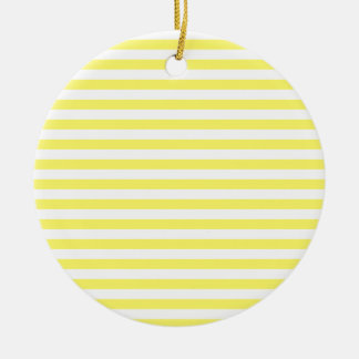 Thin Stripes - White and Lemon Ceramic Ornament