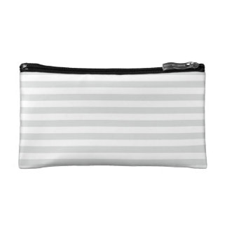 Thin Stripes - White and Light Gray Makeup Bags