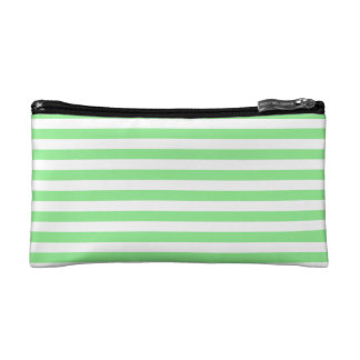 Thin Stripes - White and Light Green Cosmetics Bags