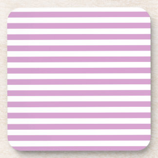 Thin Stripes - White and Light Medium Orchid Beverage Coasters