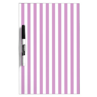 Thin Stripes - White and Light Medium Orchid Dry Erase Whiteboards