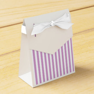 Thin Stripes - White and Light Medium Orchid Favor Box